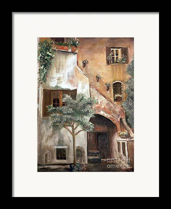 Building Framed Print featuring the painting Secret Garden by CJ Rider