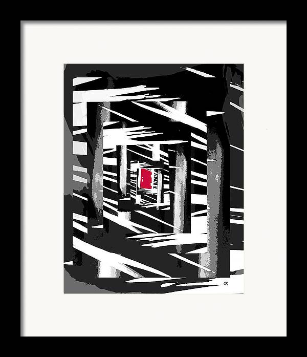 Abstract Digital Art Framed Print featuring the digital art Secret Red Door by Gerlinde Keating - Galleria GK Keating Associates Inc