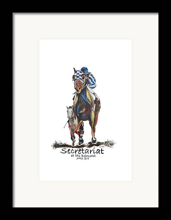 Secretariat Framed Print featuring the painting Secretariat At The Belmont Mural by Amanda Sanford