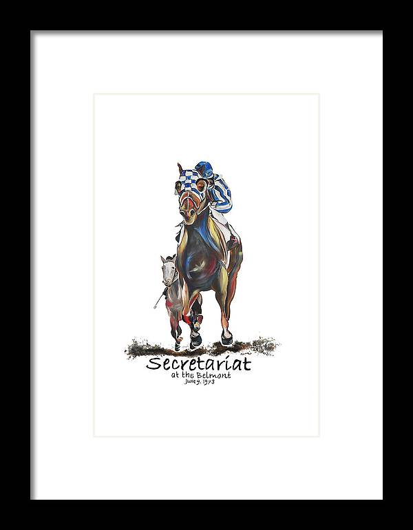 Secretariat Framed Print featuring the painting Secretariat At The Belmont Mural by Amanda Sanford