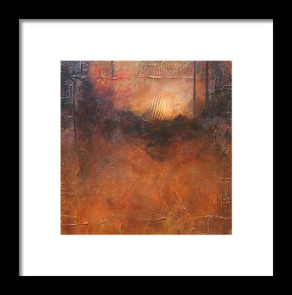 Abstract Framed Print featuring the painting Secrets by Carrie Allbritton