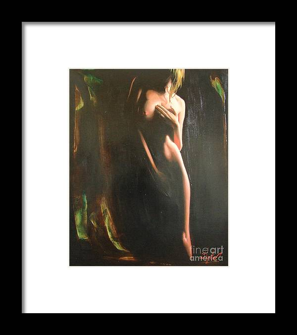 Art Framed Print featuring the painting Secrets by Sergey Ignatenko