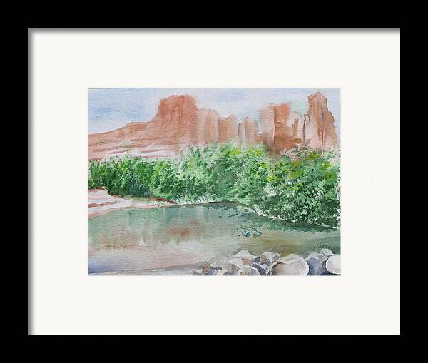 Landscape Framed Print featuring the painting Sedona Reflections by Kathy Mitchell