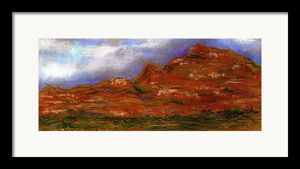 Landscape Framed Print featuring the painting Sedona Storm Clouds by Marilyn Barton