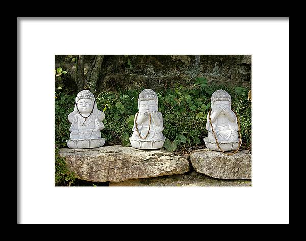 Asia Framed Print featuring the photograph See Hear Speak No Evil by Michele Burgess