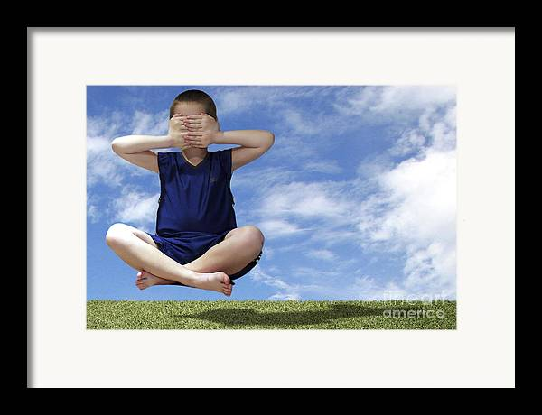 Boy Framed Print featuring the photograph See No Evil Hear No Evil Speak No Evil by Jeannie Burleson