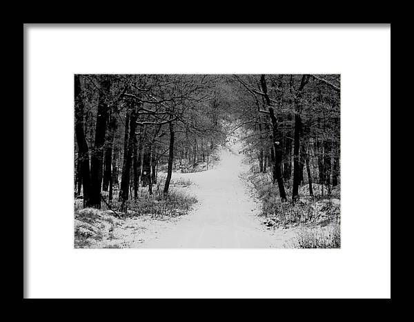Snow Framed Print featuring the photograph See Where It Leads. by Jean Macaluso