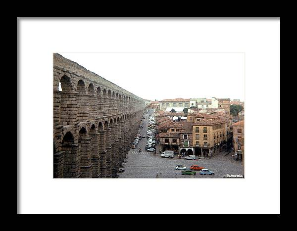 Segovia Framed Print featuring the digital art Segovia Aquaduct by Al Blackford