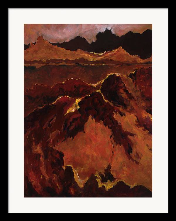 Abstract Framed Print featuring the painting Seismic Shift by Tara Moorman
