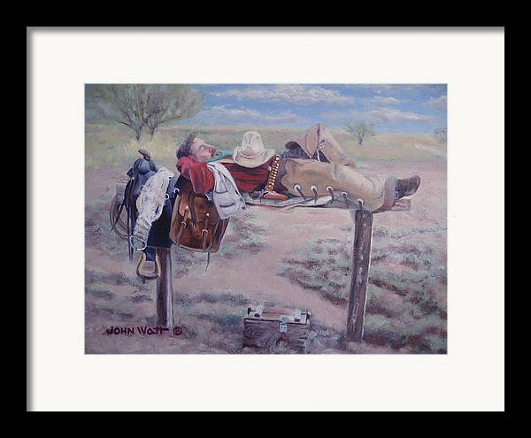 Empire Ranch Cowboy Framed Print featuring the painting Select Comfort by John Watt