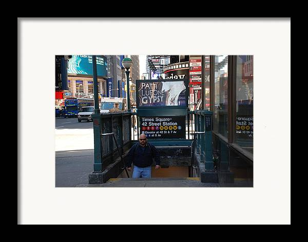 Subay Framed Print featuring the photograph Self At Subway Stairs by Rob Hans
