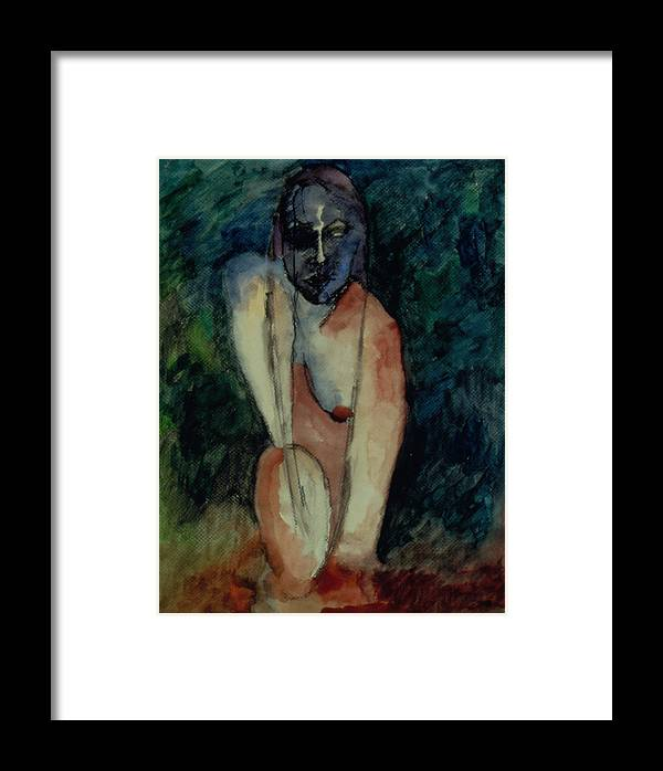 Female Framed Print featuring the painting Self Exam by Erika Brown