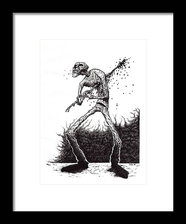 Dark Framed Print featuring the drawing Self Inflicted by Tobey Anderson