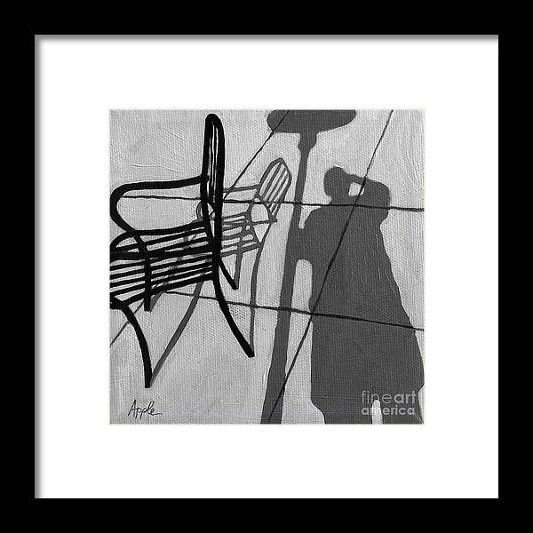 Portrait Artwork Framed Print featuring the painting Self Portrait - Cafe Shadows Painting by Linda Apple