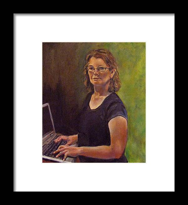 Self Portrait Framed Print featuring the painting Self Portrait After Sofonisba by Art Nomad Sandra Hansen