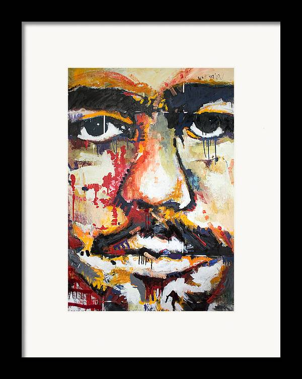 Abstract Framed Print featuring the painting Self Portrait by Dmitry Gubin