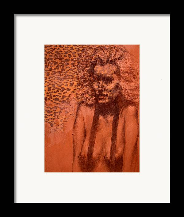 Woman Framed Print featuring the drawing Self Portrait by J Oriel