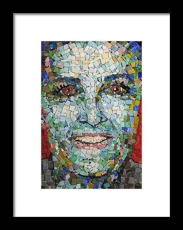 Mosaic Framed Print featuring the mixed media Self Portrait by Laura K Aiken
