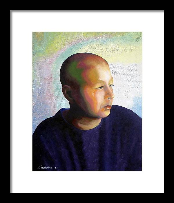 Breast Cancer Framed Print featuring the painting Self Portrait Mid-treatment by Laura Tasheiko