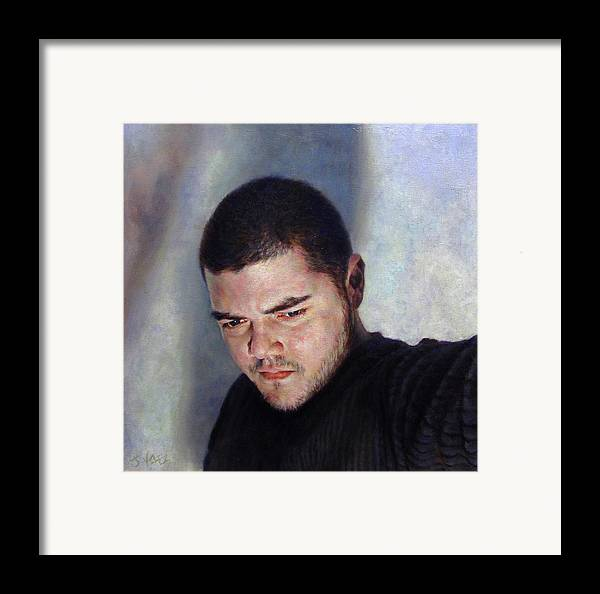 Self Framed Print featuring the painting Self Portrait W Shadows by Joe Velez