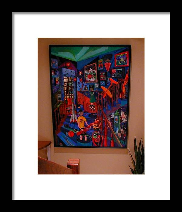 Ghost Framed Print featuring the painting Self Portrait With Ghost by Lee M Plate