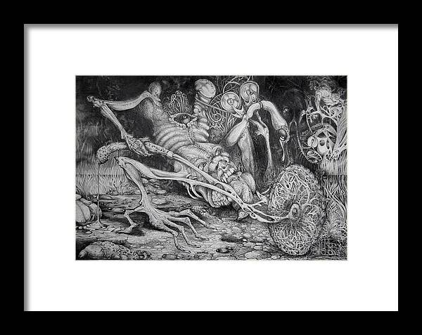 Surrealism Framed Print featuring the drawing Selfpropelled Beastie Seeder by Otto Rapp