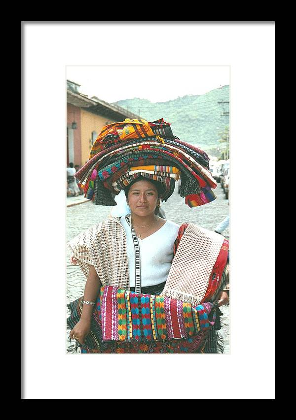 Guatemala Framed Print featuring the photograph Selling Table Clothes In Antigua by Gosta Eger