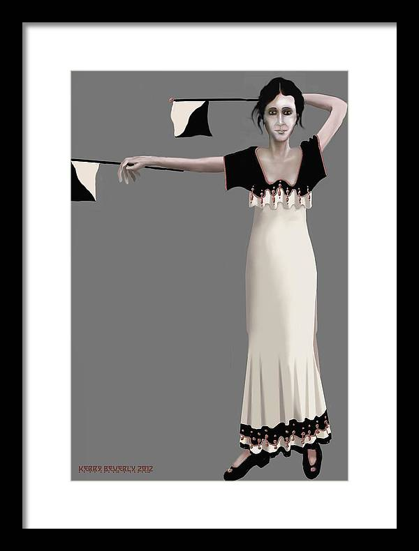 Female Framed Print featuring the digital art Semaphore Girl by Kerry Beverly