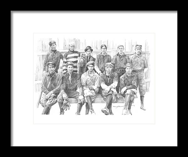 Www.miketheuer.com Semipro Baseball 1908 Co Railroad Pencil Portrait Framed Print featuring the drawing semipro baseball 1908 CO railroad pencil portrait by Mike Theuer