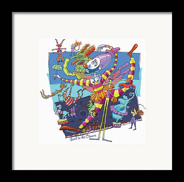 Clowns Framed Print featuring the digital art Send In The Clowns by Annabel Lee