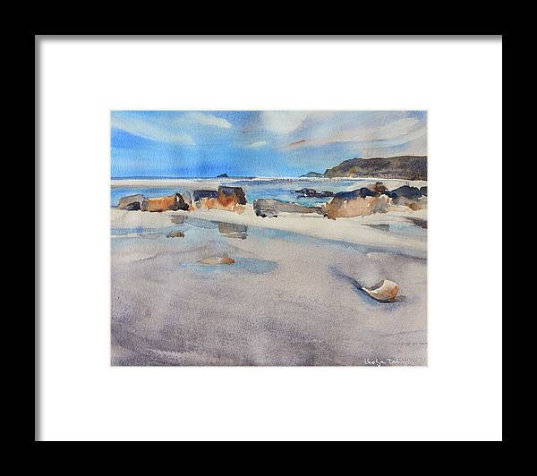 Sennen Cove Framed Print featuring the painting Sennen Cove Low Tide by Ibolya Taligas