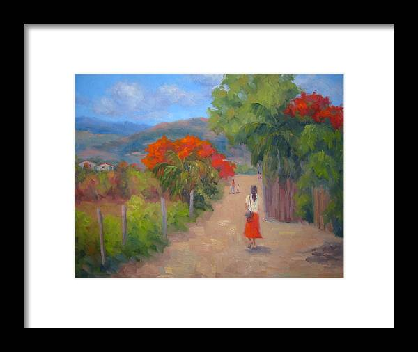 Honduras Framed Print featuring the painting Senorita In A Red Skirt by Bunny Oliver
