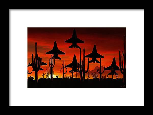 Fine Art Framed Print featuring the painting Sentinels by David Wagner