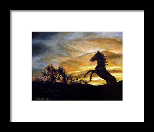 Sunset Framed Print featuring the painting Sentry On Duty by Olga Kaczmar