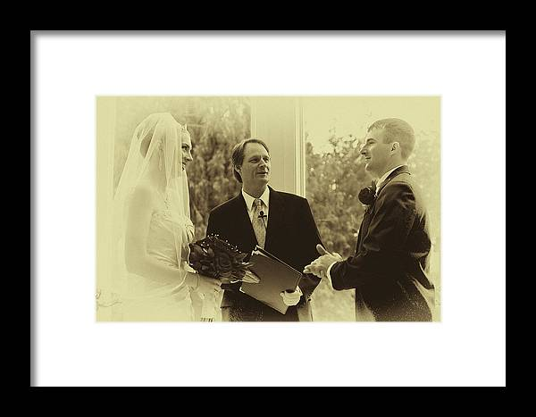 Vintage Framed Print featuring the photograph Sepia 2 Wedding Couple Example by David Patterson