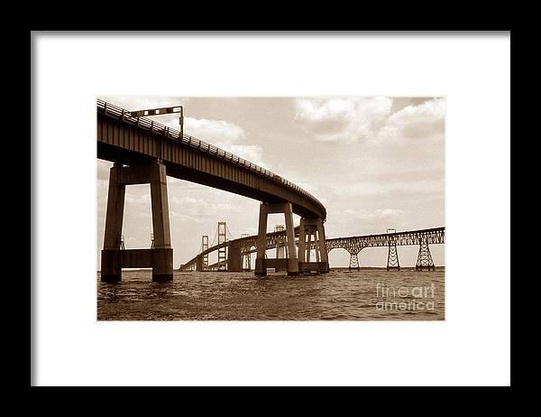Maritime Framed Print featuring the photograph Sepia Chesapeake Bay Bridge by Skip Willits