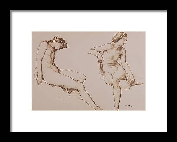 Sepia Framed Print featuring the drawing Sepia Drawing Of Nude Woman by William Mulready