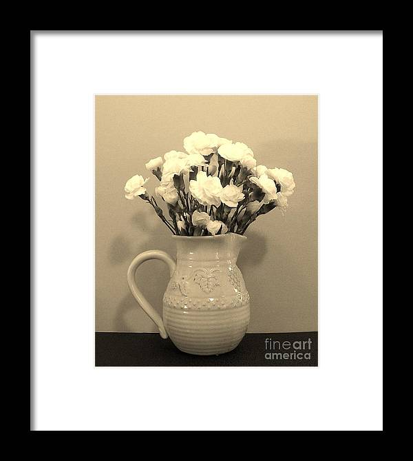 Gold Framed Print featuring the photograph Sepia Gold Pitcher Of Carnations by Marsha Heiken