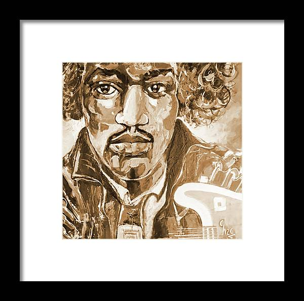 Jimi Hendrix Framed Print featuring the painting Sepia Jimi by Gilles Chagnon