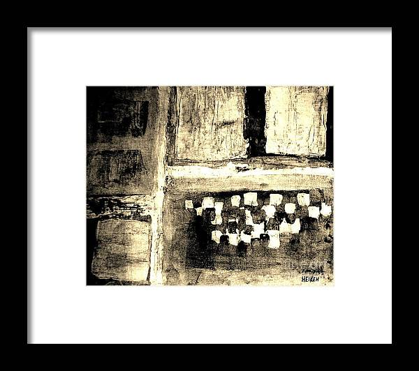 Painting Framed Print featuring the painting Sepia Squares by Marsha Heiken