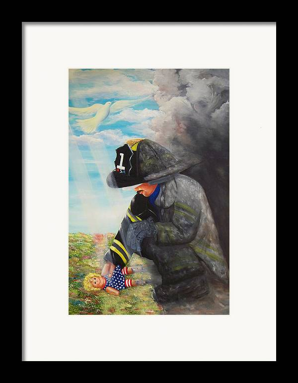 Portrait Framed Print featuring the painting September 11th by Joni McPherson