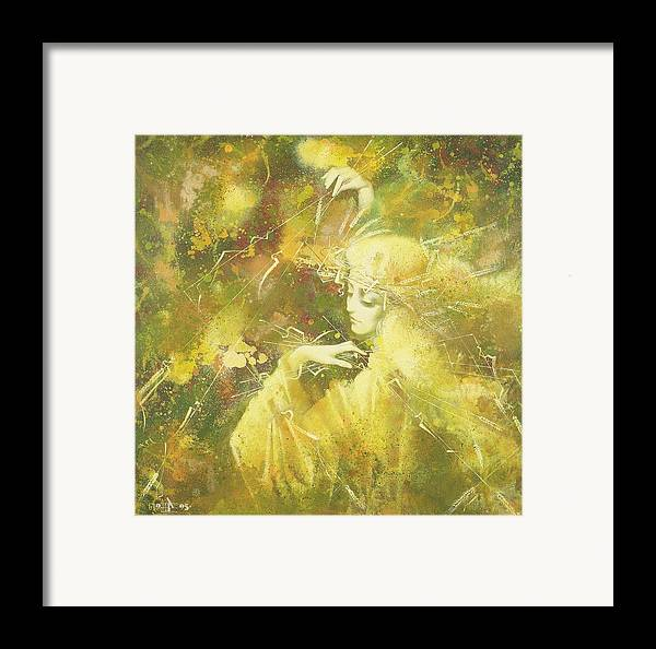 Figures Framed Print featuring the painting September by Andrej Vystropov