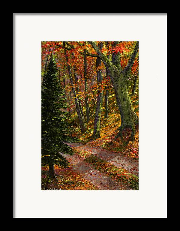 Road In The Woods Framed Print featuring the painting September Road by Frank Wilson