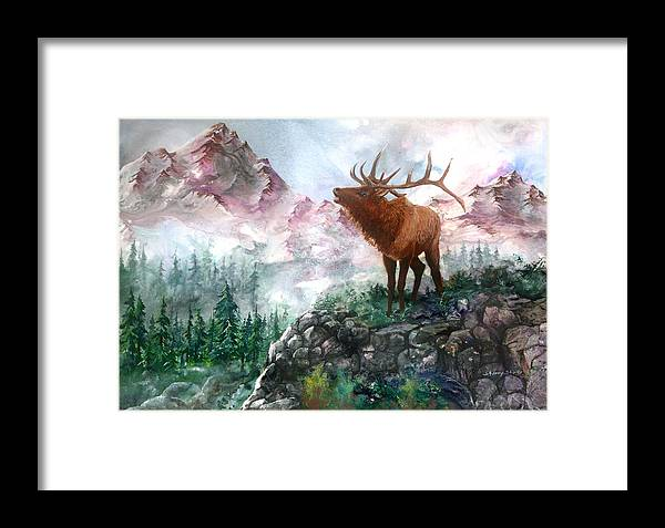 Elk Framed Print featuring the painting September Song by Sherry Shipley