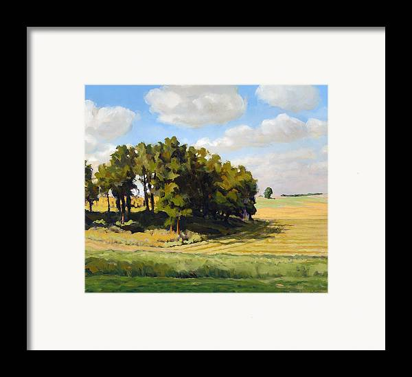 Landscape Framed Print featuring the painting September Summer by Bruce Morrison