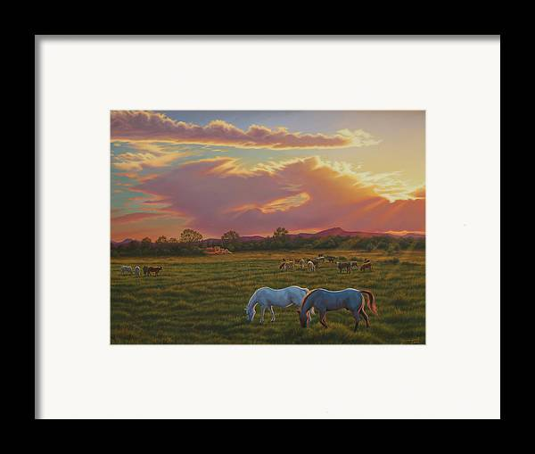Southwest Framed Print featuring the painting September Sunset In Taos by Johanna Girard