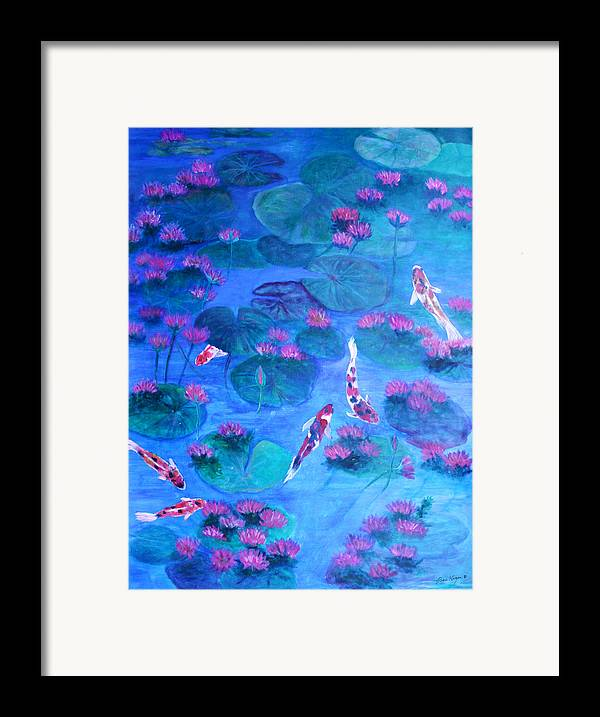 Lily Pads Framed Print featuring the painting Serene Pond by Ben Kiger