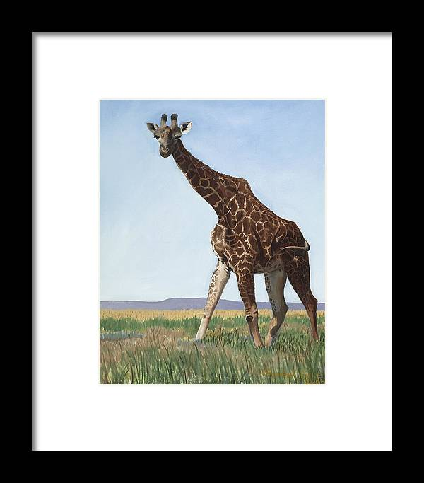 Giraffe Framed Print featuring the painting Serengeti Longneck by Elizabeth Rieke Hefley