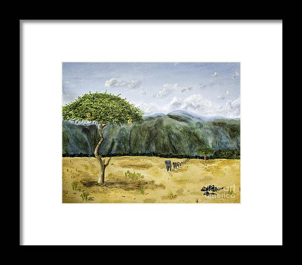 Acrylic Paintings Framed Print featuring the painting Serengeti Painting by Timothy Hacker
