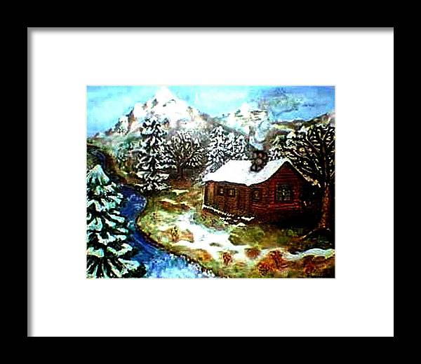 Landscape Framed Print featuring the painting Serenity Cabin by Tanna Lee M Wells